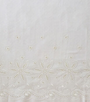 Linen Fabric 56''-White Embroidered Border