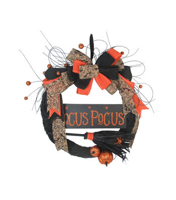 Maker's Halloween Wreath with Pumpkins, Broom & Spider-Hocus Pocus