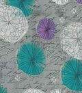 Modern Cotton Fabric 43\u0022-Amethyst Floral Circles