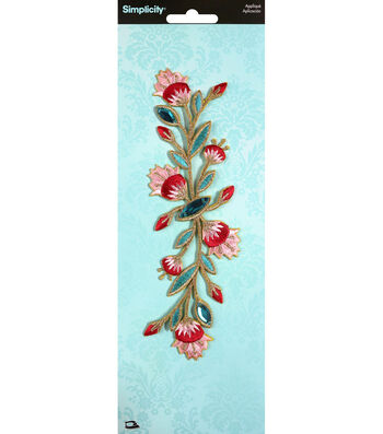 Simplicity Large Flower Iron-on Applique with Gems