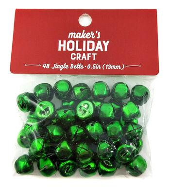 Maker's Holiday Craft Christmas 48 pk 0.5'' Bells-Green