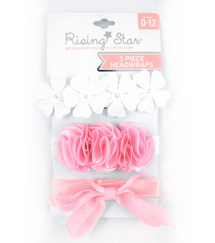 Rising Star 3 pk Headwraps-White, Pink & Coral