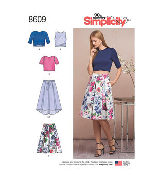 Simplicity Pattern 8609 Misses' Skirts & Knit Tops-Size D5 (4-6-8-10-12)