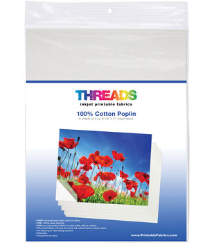 THREADS 6 pk Cotton Poplin Inkjet Printable Fabric Sheets 8.5''X11''