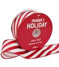 Maker\u0027s Holiday Christmas Ribbon 1.5\u0027\u0027x30\u0027-Red & White Candy Stripes