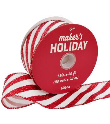 Maker's Holiday Christmas Ribbon 1.5''x30'-Red & White Candy Stripes