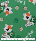 St. Patrick\u0027s Day Cotton Fabric-I Meow You Green Glitter