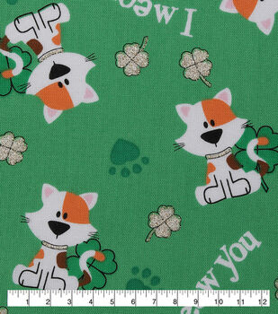 177117758 St. Patrick's Day Cotton Fabric-I Meow You & Glitter Clovers on Green
