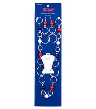 hildie & jo Patriotic Jewelry Circle & Bead Necklace & Earrings Set