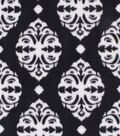 Anti-Pill Plush Fabric-White Damask on Black