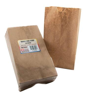 """Gusseted Flat Bottom Bags 4-1/2""""X2-1/2""""X8-1/2"""" 100/Pkg-Natural/Kraft"""