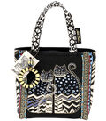 Laurel Burch Medium Tote with Zipper Top-Spotted Cats