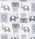 Nursery Flannel Fabric -Grey Dream Big Patch