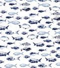 Indigo Mist 60\u0027\u0027x60\u0027\u0027 Round Tablecloth-Fishes