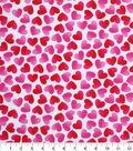 Valentine\u0027s Day Print Fabric -White with Pink Hearts