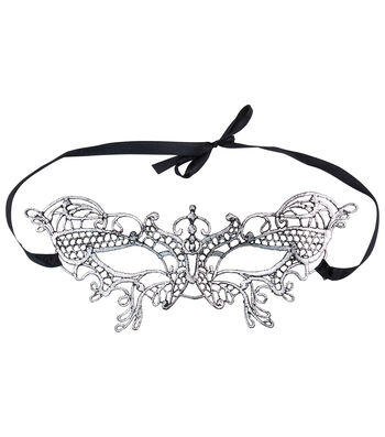 Maker's Halloween 5''x9'' Lace Mask-Black & Silver