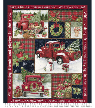 """36"""" Christmas Panel Fabric-Red Truck Collage"""