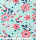 Blizzard Fleece Fabric -Coral Flowers On Mint