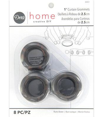 "Dritz Home 1"" Round Grommet Medium Brown 8pcs"
