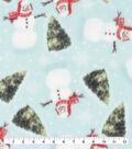 Anti-Pill Plush Fleece Fabric-Happy Snowman and Trees