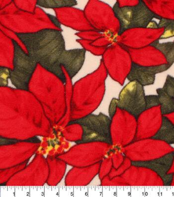"""No-Sew Throw Fleece Fabric 72""""-Poinsettia"""