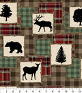 Snuggle Flannel Fabric-Animal Silhouettes Patchwork