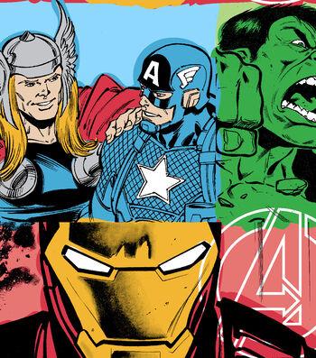 Marvel Comics Avengers Fleece Fabric -Line Work