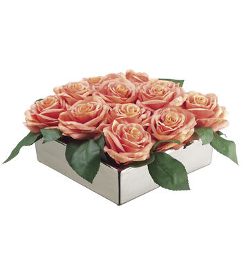 Bloom Room Luxe 6'' Open Rose In Square Ceramic Dish-Pink