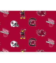 University of South Carolina Gamecocks Fleece Fabric -All Over, , hi-res