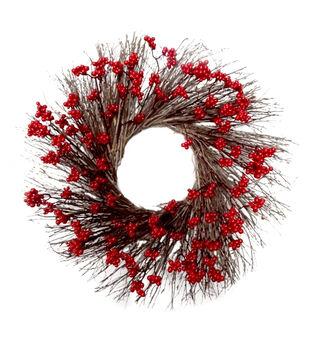 Handmade Holiday Christmas 24.02'' Berry Wreath-Red