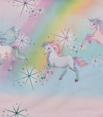 """Let's Pretend Mesh Fabric 58""""-Unicorn Border"""