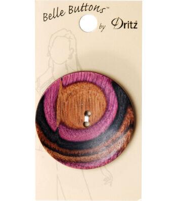 Dritz Belle Button Natural Large Round Swirl Burgundy 44mm