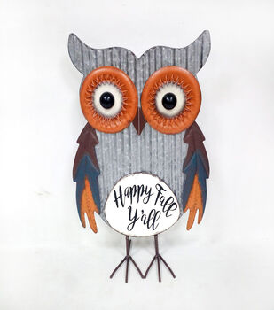 Simply Autumn Metal Owl Porch Sitter-Happy Fall Y'all