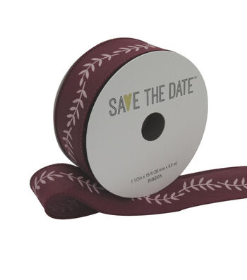 """Save the Date 1.5"""" x 15ft Ribbon-Blush Fern On Cranberry"""