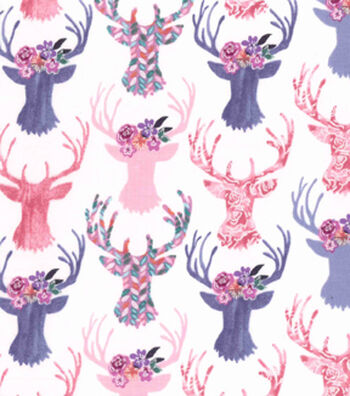 Premium Cotton Print Fabric 43''-Pink Stag Heads on Pearl