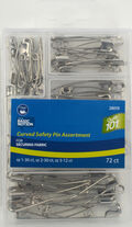 Curved Safety Pin Assortment-72/Pkg