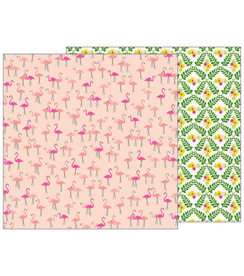 Pebbles Jen Hadfield Patio Party Double-Sided Cardstock-Let's Flamingo