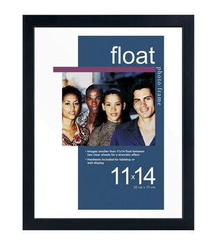 Wood & Glass Float Photo Frame 11''x14''-Black