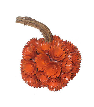 Simply Autumn Small Plastic Woodchip Pumpkin-Orange