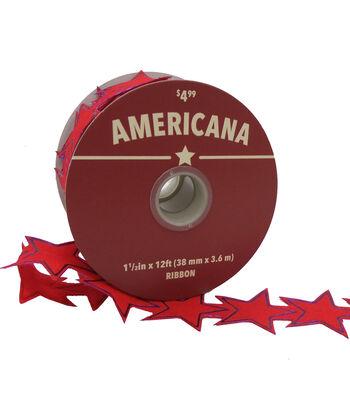 """Americana Laser Cut Stars Ribbon 1.5""""x12'-Red"""