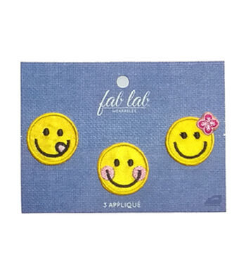 Fab Lab 3 pk Smiley Faces Iron-on Applique Patches-Yellow