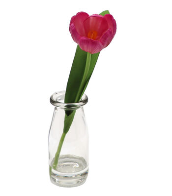Fresh Picked Spring 9'' Tulip in Glass Bottle-Pink