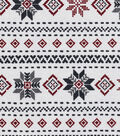 Snuggle Flannel Fabric -Fair Isle Stripes on White