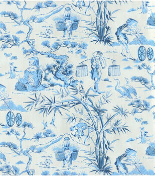 "Waverly Multi-Purpose Decor Fabric 54""-Haiku Toile/Indigo"