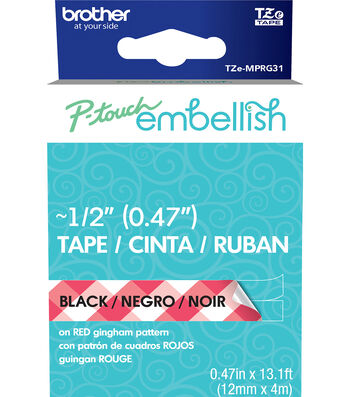 Brother P-touch Embellish Patterned Tape-Black Print on Red Gingham