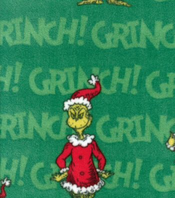 Holiday Fleece Fabric -Grinch on Green