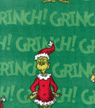 Holiday Fleece Fabric -Grinch on Green
