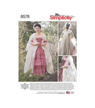 Simplicity Pattern 8578 Misses' 18th Century Gown-Size R5 (14-22)