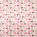 Super Snuggle Flannel Fabric-Hearts & Dots Pink & Gray