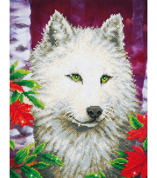"Diamond Embroidery Facet Art Kit 23""X19""-White Wolf"